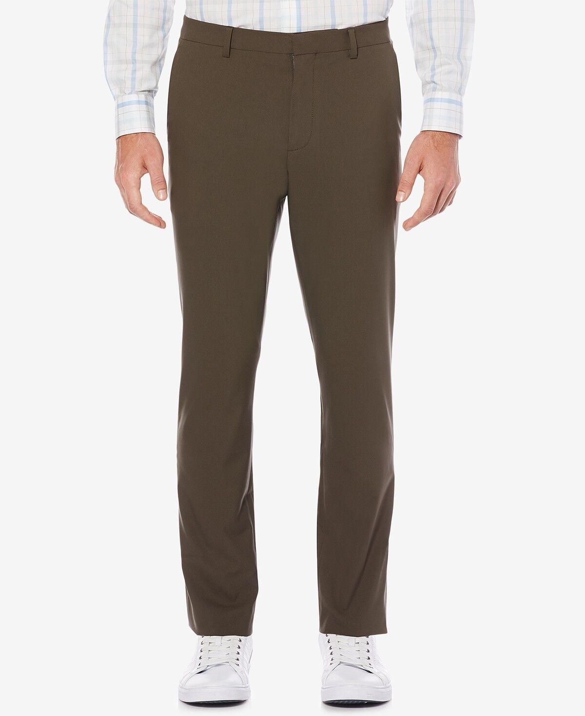 PERRY ELLIS PORTFOLIO MEN BROWN FLAT FRONT SLIM FIT DRESS PANTS 32 W 29 L