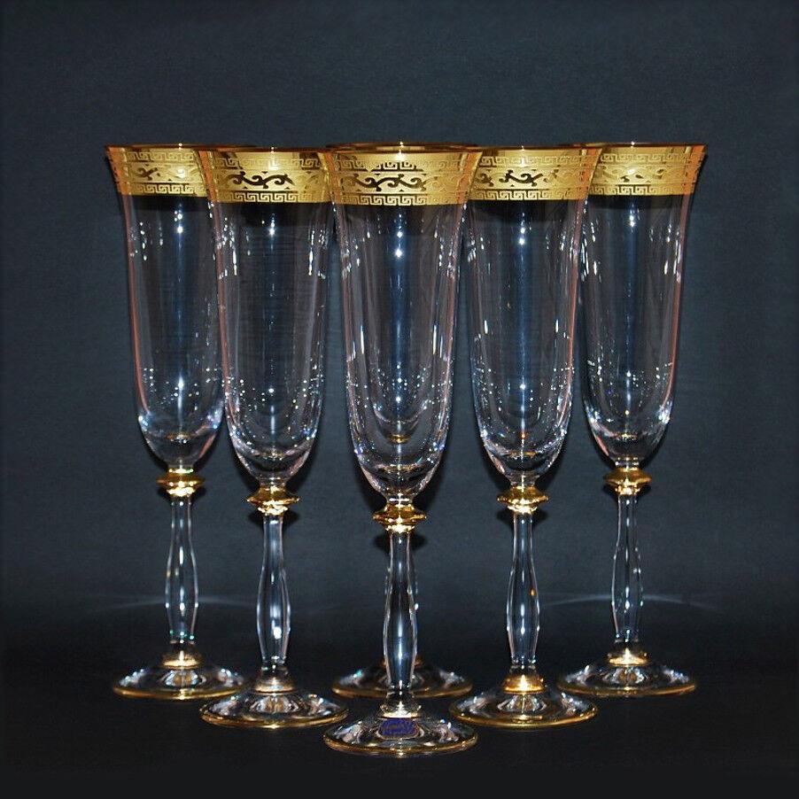 6 copa cava, Bohemia vaso de cristal, mano pintado, decoración marco dorado nuevo  & OVP