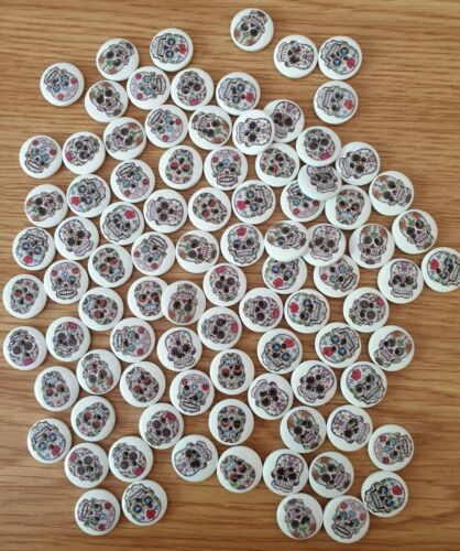 20 Assorted Skull Buttons  Size 15mm Job Lot