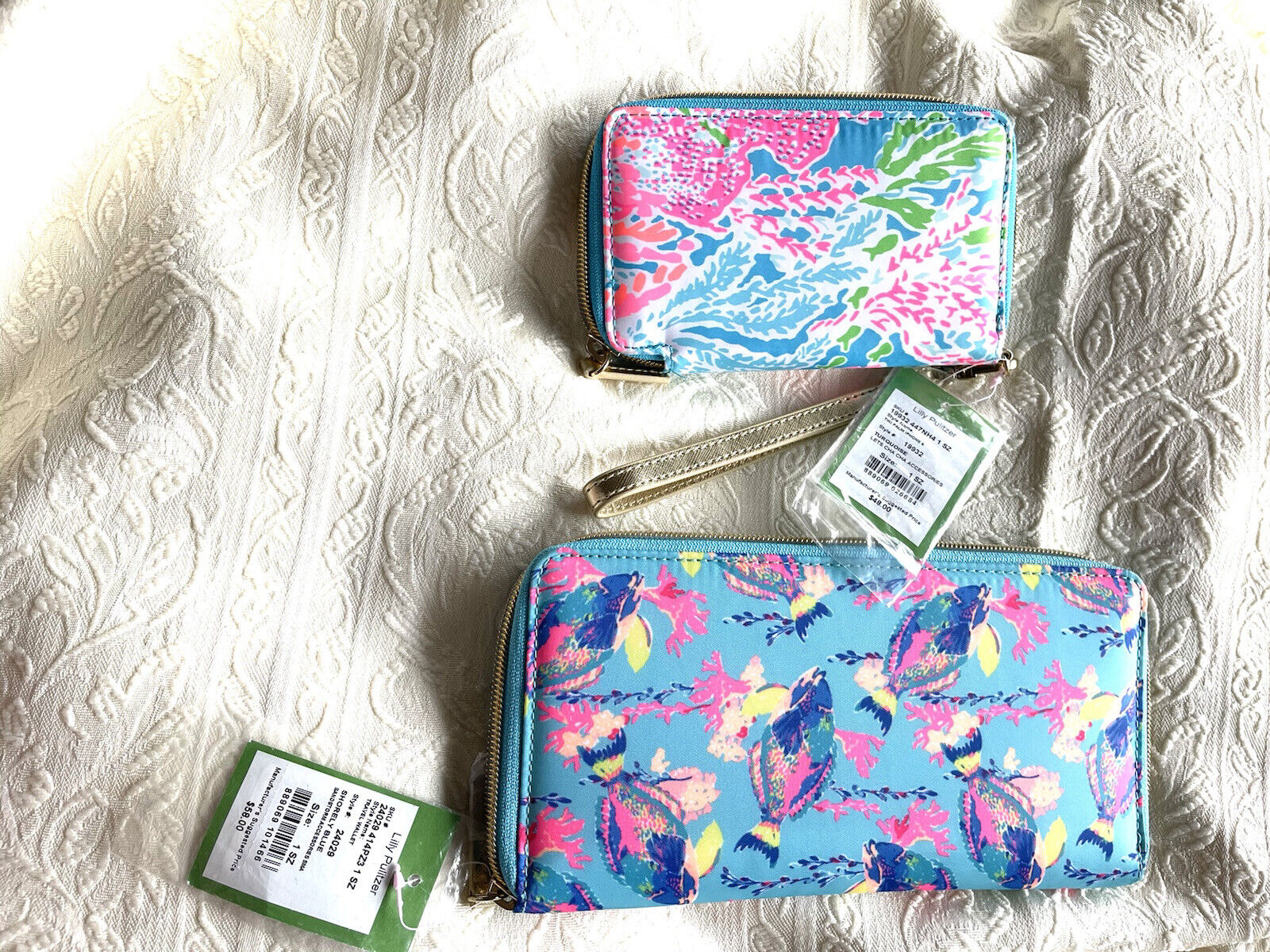 NWT Set Of 2 A LOT Of LILLY PULITZER WALLET Travel Fish Vacation Credit Cards