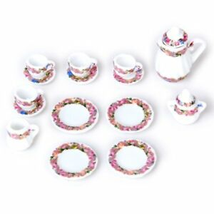 15pcs-Doll-House-Miniature-Porcelain-Tea-Set-Dish-Cup-Plate-Floral-Print-CT