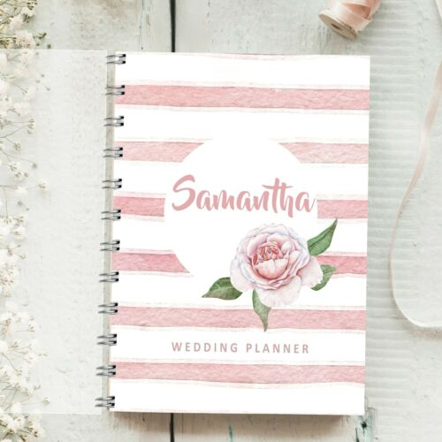 4 year diary Bride to Be Journal Gift Personalised Wedding Planner Pink Stripe