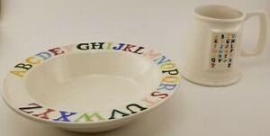 Vintage Ceramic Pottery ABC's Cup And Bowl Mid-century Hand Painted Collectable