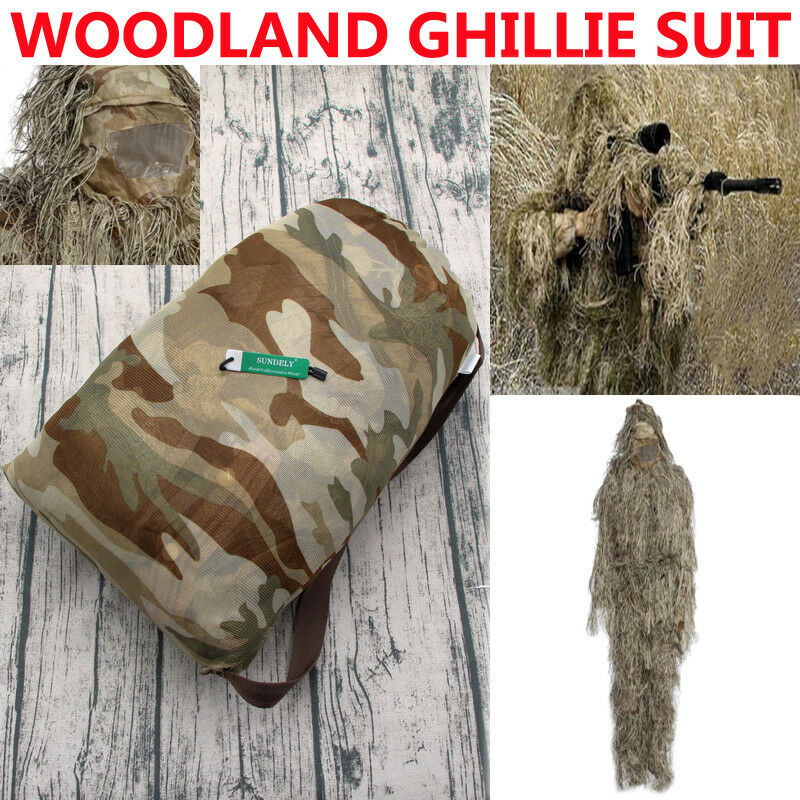 UK Desert Hunting Woodland Camo Sniper Ghillie Suit Tactical Camouflage Clothing