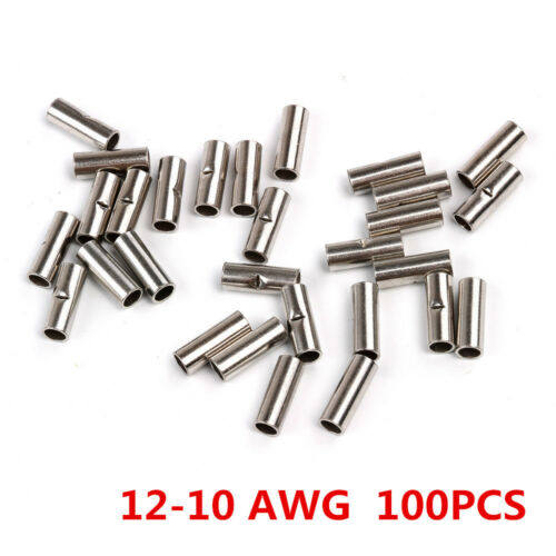 300PCS 18-22 GAUGE UNINSULATED NON INSULATED BUTT CONNECTOR TERMINAL WIRE URBC