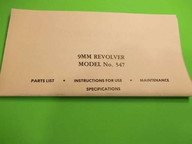 Details about SMITH AND WESSON 9MM DOUBLE ACTION MODEL NO 547 REVOLVER  MANUAL