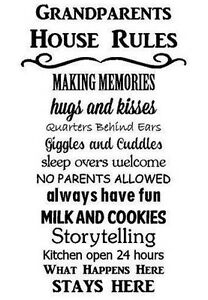 Grandparents House Rules Words Lettering Wall Decal Art
