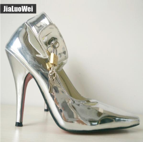 Womens 12Cm Nightclub Pointy Toe Stilettos Strap Queen Lock High Heel shoes