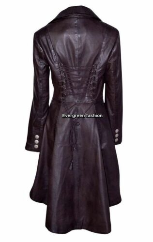 Laced Brown Real Rockstar Jacket Edwardian Leather Coat Washed Ladies Gothic UxTRcnn