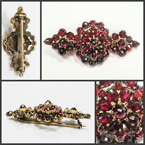 Vintage Antique Victorian Rose Cut Garnet Pin Brooch