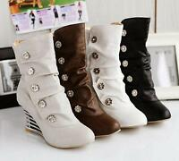 Fashion High Heels Shoes Womens Side Button Decro Slouch Wedge Ankle Boots Sizes