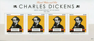 Nevis-2012-MNH-Charles-Dickens-4v-M-S-Writers-Poets-Famous-People-Stamps