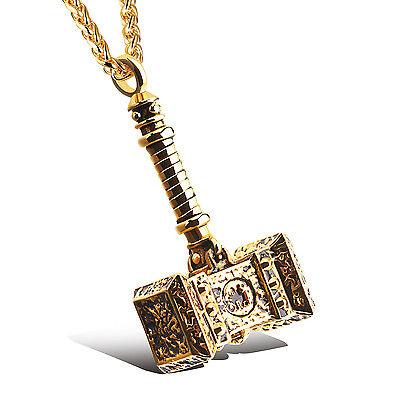 Stainless steel Large Biker destruction Thor's Hammer design Pendant Necklace