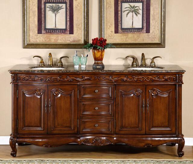 Superieur 72 Inch Bathroom Double Sink Vanity Granite Stone Top Lavatory ...