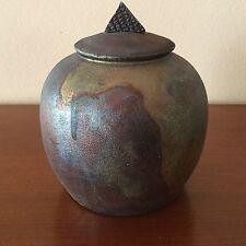 "Jon Oakes ~ Raku Pottery // 5 1/4"" Covered Urn // Artist Signed // Ca. 1995"