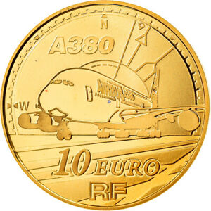 [#866319] France, 10 Euro, Avion A380, 2007, Proof, FDC, Or, KM:1480