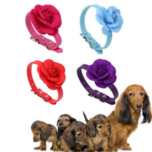 Pet-Adjustable-Collar-Rose-Flower-Shape-Durable-Puppy-Hair-Accesseories