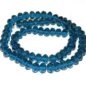 """CR648 Light Sapphire Blue Opal 10mm Rondelle Faceted Cut Crystal Glass Beads 22/"""""""