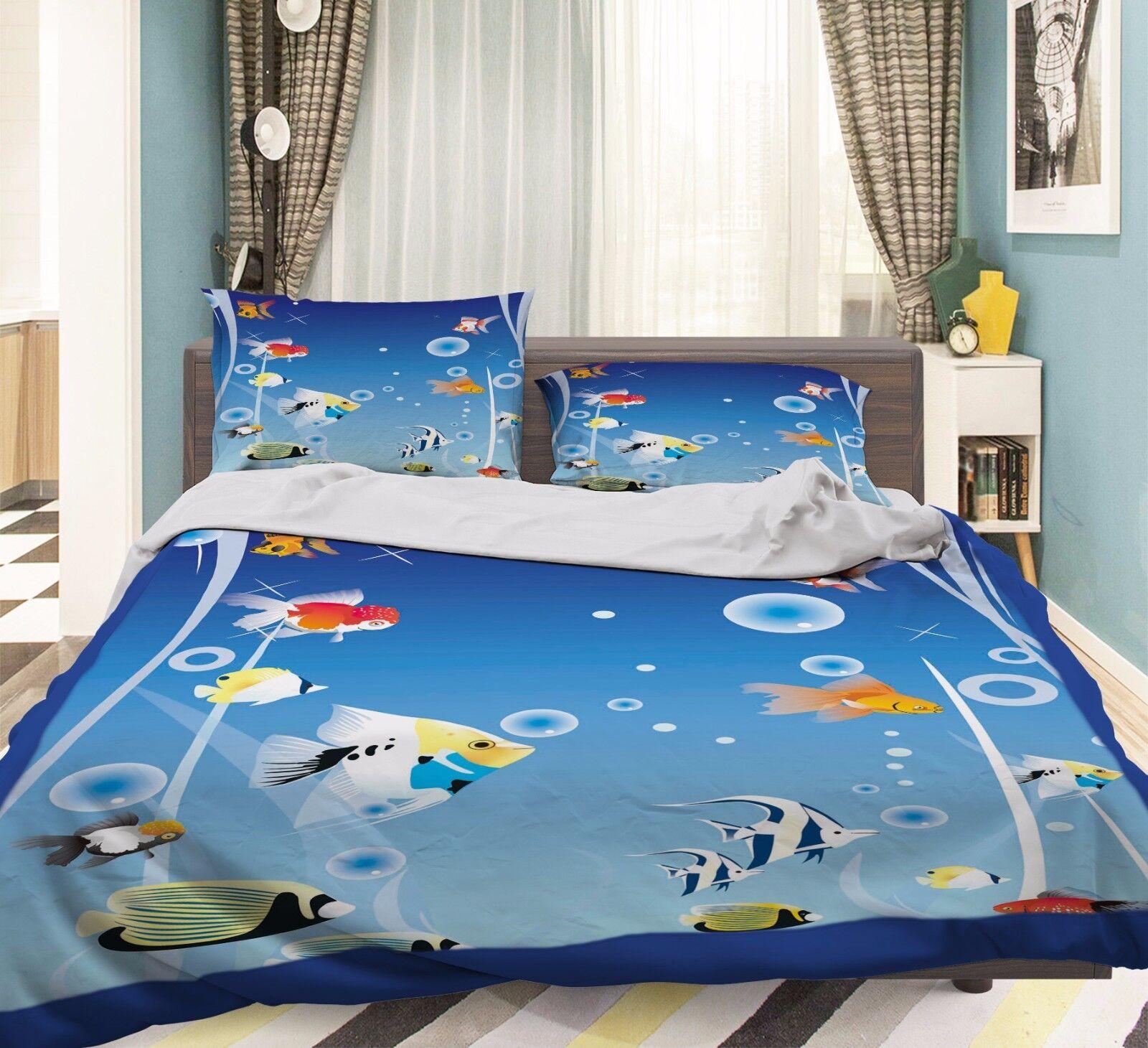 3D Fish Ocean 916 Bed Pillowcases Quilt Duvet Cover Set Single Queen UK Summer