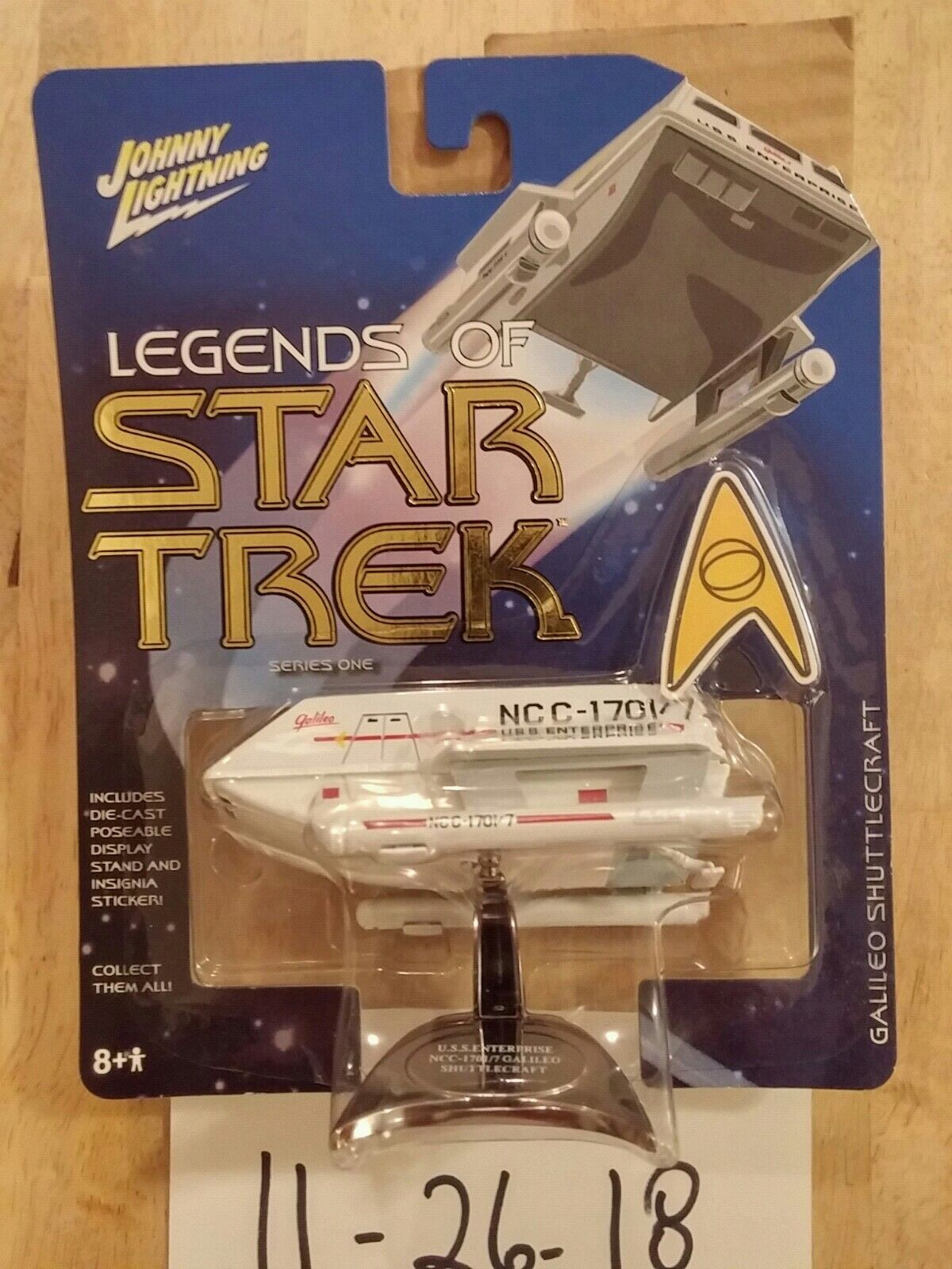 2004 Johnny Lightning Legends of Star Trek Trek Trek Galileo Shuttlecraft Series One WHITE 80b2a7