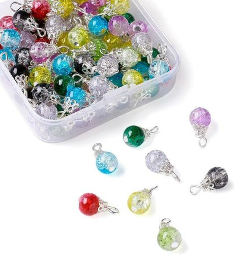 10 Crackle Glass Bead Charms 16mm Assorted Lot Mixed Colors Jewelry Supplies Mix