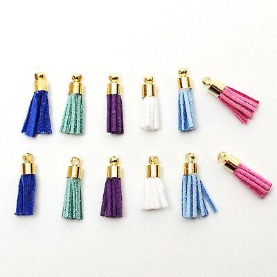 Neutrals 15-20mm Charms Craft Embellishment 12 x Mini Leather Tassels
