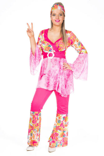 Womens Adult Hippie 60s 70s Hippy Flared Power Flares Fancy Dress Costume Outfit