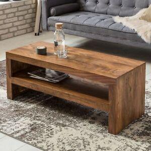 Details zu FineBuy Couchtisch Holz Wohnzimmertisch Massiv Sheesham  Holztisch Beistelltisch