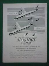 7/1957 PUB ROLLS ROYCE CONWAY BOEING 707 BOAC DOUGLAS DC-8 TRANS CANADA AD