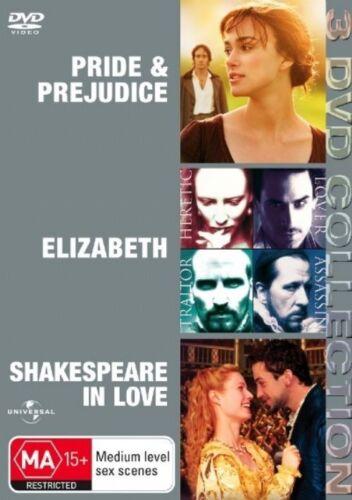 1 of 1 - Pride and Prejudice  / Shakespeare in Love  / Elizabeth (DVD, 2007, 3-Disc Set)