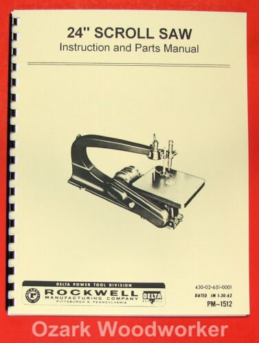 """ROCKWELL-Delta 24/"""" Scroll//Jig Saw Operator/'s /& Parts Manual 0628"""