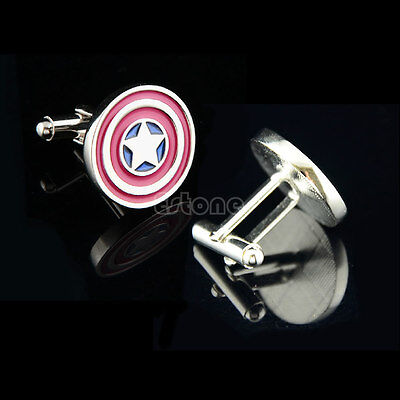 Stainless Steel Captain America Vintage Men's Jewelry Wedding Party Cufflinks