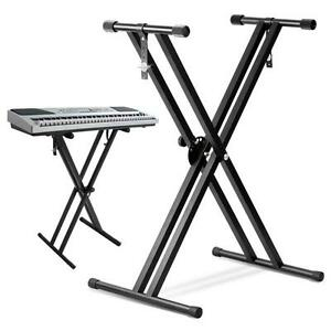 heavy duty folding double x frame adjustable keyboard stand piano with straps ebay. Black Bedroom Furniture Sets. Home Design Ideas
