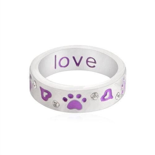 Crystal Purple Paw Prints Rings Rhinestone Paw Footprint Rings Pet Lover Rings