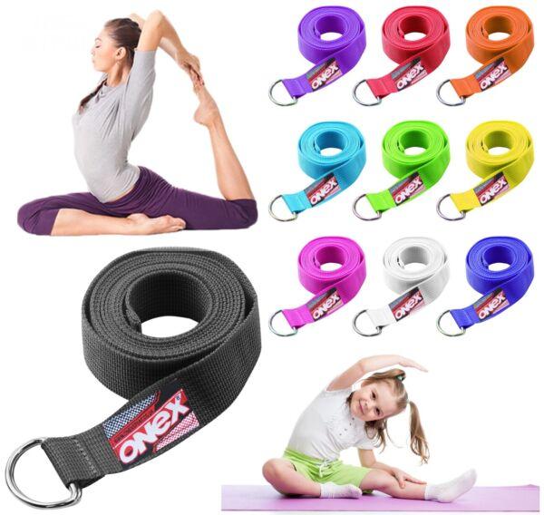 180cm Stretch Yoga Fitness D-ring Cotone Cinturino Formazione Cintura Gamba Esercizio Palestra Uk