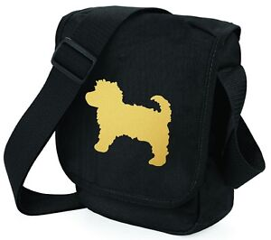 Cavapoo-Dog-Bag-Metallic-Gold-Silver-on-Black-Shoulder-Bags-Xmas-Gift