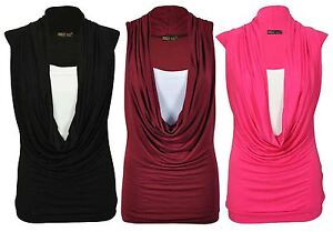 cd996819a62b0 Image is loading New-Womens-Plus-Size-Contrast-Colors-Cowl-Neck-