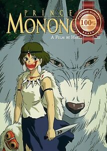 new princess mononoke with wolf ghibli movie anime wall art print