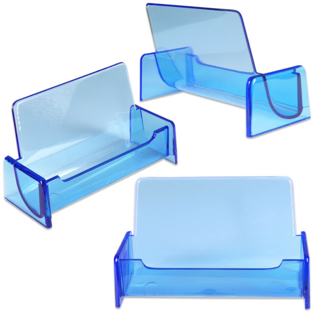 3pc HQ Acrylic Plastic Business Name Card Holder Display Stand (CLEAR BLUE)