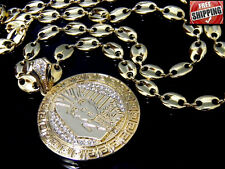 Gold Pharoah King Tut Egyptian Pendant Hip Hop Iced Out Necklace Chain Crystals