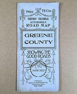 c-1920-Folding-SERVOSS-039-SECTIONAL-AUTOMOBILE-ROAD-MAP-GREENE-COUNTY-NY-18-5x28-034