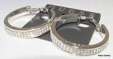 GUESS Jeans Ring Earring  Earrings Hoop Tone Rhinestones Charms Silver Charm NWT