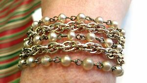 Star-Signed-5-Strand-Silver-tone-Faux-Pearl-Vintage-Bracelet