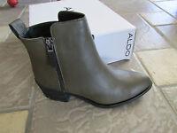 Aldo Lyttle Leather Booties Ankle Boots Womens 39 8.5 Khaki Zip Side