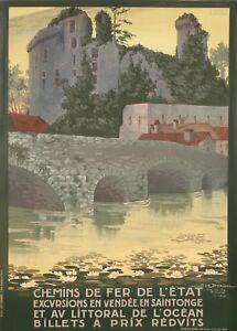 Affiche-Originale-Geo-Dorival-Chemins-de-Fer-Vendee-Clisson-1920