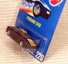FERRARI 348 BLACK SPORTS CAR #226 - 5 SPOKE BLUE CARD HOT WHEELS