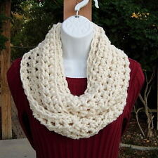 Cream INFINITY SCARF Solid Off White, Handmade Crochet Winter Circle Loop Cowl