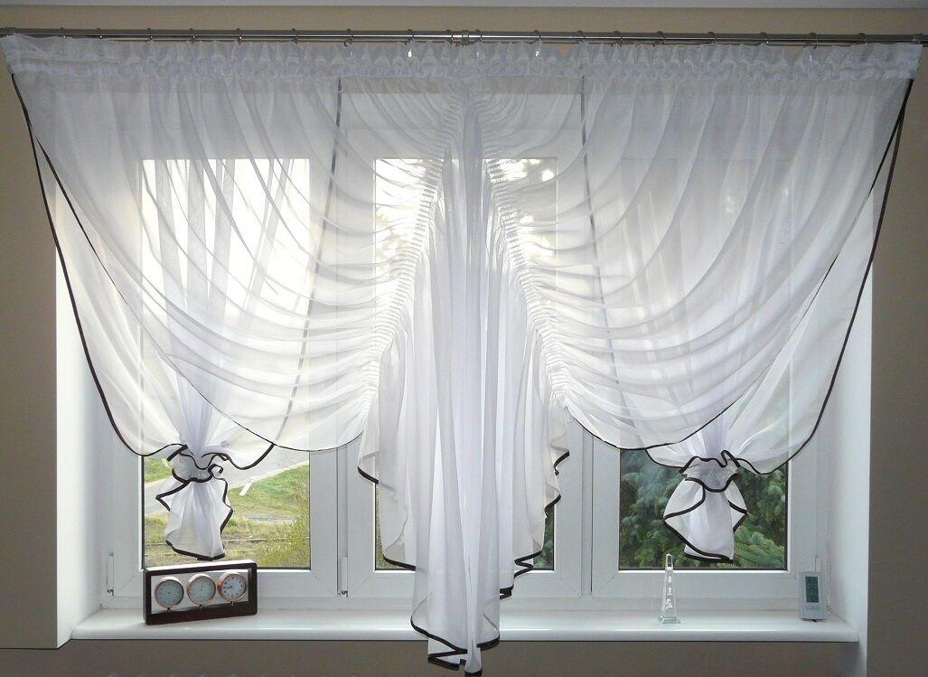 moderne Rideau prêt à poser marron en voile Set Beau rideau AG16 blanc marron poser fenêtre 8c48d7
