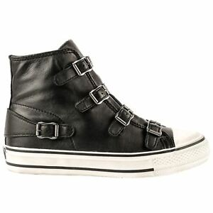 37d4ab729a5d6 Ash Virgin Black Womens Leather High Top Sneaker Trainers | eBay