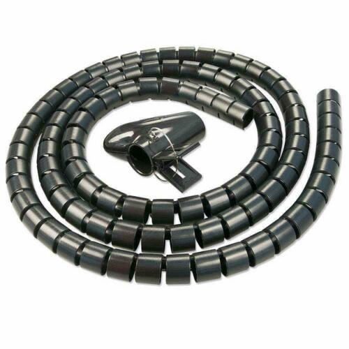 1m Spiral Wrap Cable Tidy Wire Organising Kit Black Pc Tv Home Office